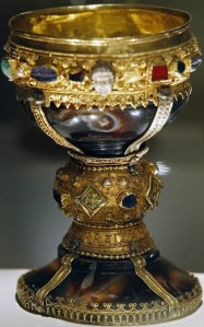 Known until now as the goblet of the Infanta Dona Urraca - daughter of Fernando I, King of Leon from 1037 to 1065 - is displayed in the Basilica of San Isidoro in Leon, northern Spain on March 31, 2014. Spanish researchers Margarita Torres and Jose Miguel Ortega River reveal in their book 'The kings of the Grail' that they have found the goblet from which Jesus Christ supposedly sipped during the Last Supper. After a three year hunt begining with Egyptian parchments the two historians claim the mythical object of countless quests in literature and art has actually been lying for nearly a millennium in a basilica in the northwestern Spanish city of Leon.   AFP PHOTO/ CESAR MANSOCESAR MANSO/AFP/Getty Images